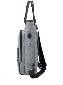 Grey and Black Canvas Multifunction Commercial Causal Backpack Men Bag