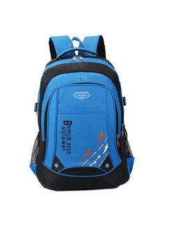 Blue and Black Nylon Outdoor Travel Big Capacity Backpack Men Bag