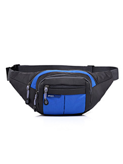 Blue and Black Nylon Outdoor Multifunction Travel Fannypack Men Bag