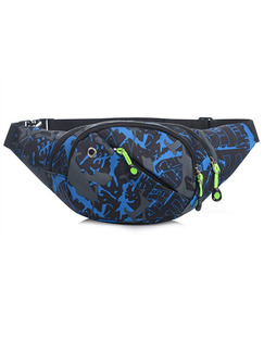 Grey Blue and Black Nylon Outdoor Multifunction Travel Fannypack Men Bag