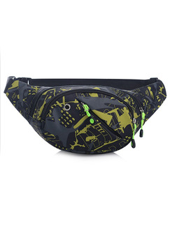 Black Grey and Yellow Nylon Outdoor Multifunction Travel Fannypack Men Bag