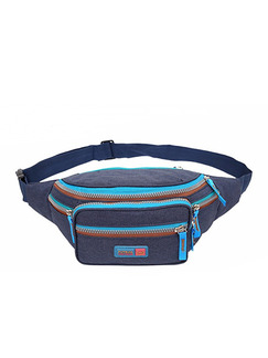 Blue Grey and Brown Nylon Outdoor Multifunction Travel Big Capacity Fannypack Men Bag