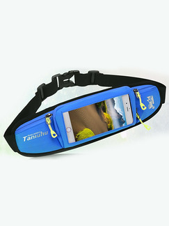 Black and Blue Nylon Sports Reflective Touch Screen Waterproof Belt Men Bag
