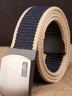 Khaki and Brown Automatic Buckle Braided Canvas Men Belt