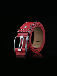 Red Pin Buckle Thread Leather Men Belt