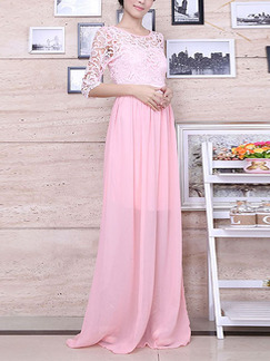 Pink Cute Lace Maxi Dress for Bridesmaid Prom