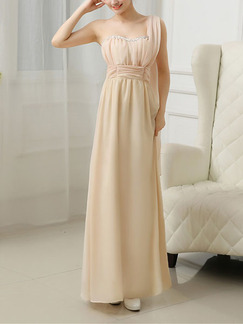 Champagne Sequin Floor Long Length One Shoulder Gowns Dress for Bridesmaid Prom