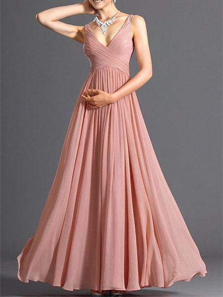 Pink Chiffon Slim V Neck Open Back Full Skirt Dress For