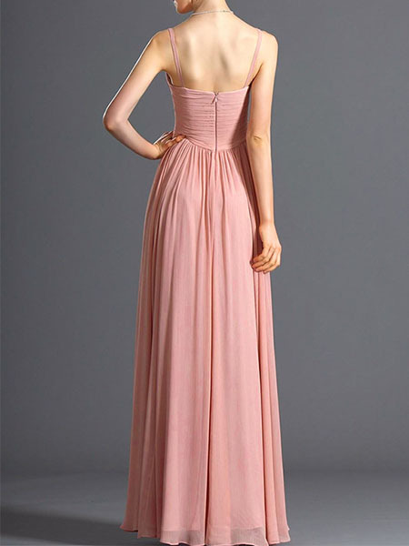 Pink Chiffon V Neck Floor Length Gown