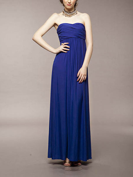 Blue Strapless Floor Long Length Gown