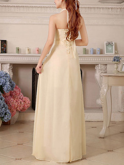 Cream Halter Maxi Plus Size Petite Dress for Bridesmaid Prom