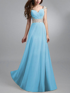 Blue Maxi V Neck Wrap Plus Size Dress for Bridesmaid Prom Ball