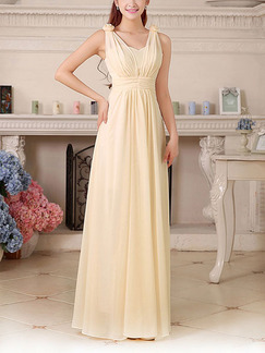 Champagne Chiffon Floor Long Length Gowns Dress for Bridesmaid Prom