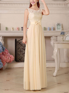Cream Lace Petite Plus Size Maxi Dress for Bridesmaid Prom