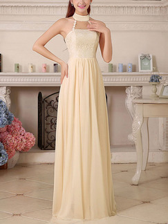 Champagne Chiffon Halter Lace Floor Long Length Gowns Dress for Bridesmaid Prom