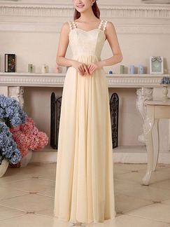Cream Plus Size Petite Maxi Dress for Bridesmaid Prom