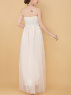 Champagne Strapless Long Gowns Dress for Prom Bridesmaid