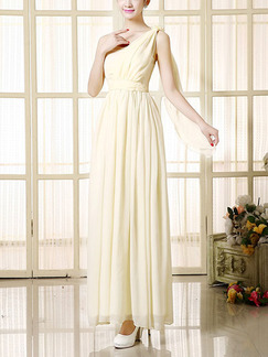 Champagne One Shoulder Floor Long Length Gowns Dress for Bridesmaid Prom
