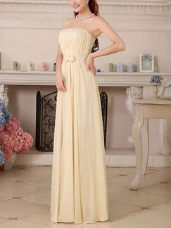 Champagne Strapless Maxi Plus Size Dress for Bridesmaid Prom