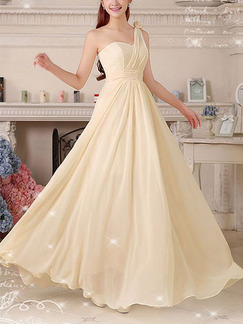 Champagne One Shoulder Maxi Plus Size Dress for Bridesmaid Prom