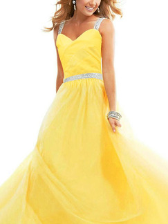 Yellow Sequin Maxi Slip Backless Dress for Prom Cocktail Ball