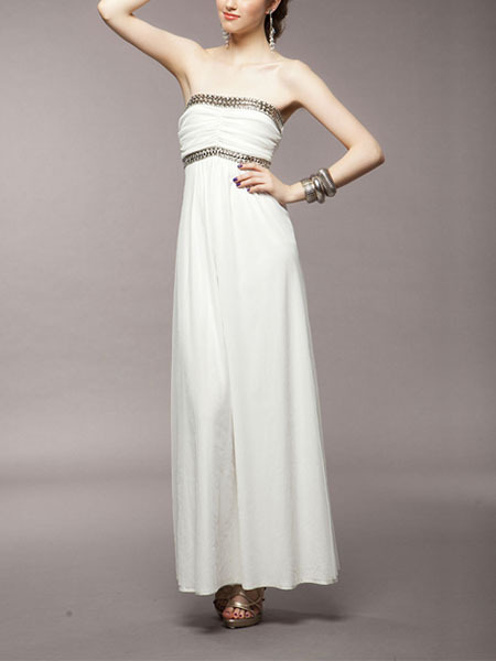 White Chiffon Sequin Maxi Strapless Gown