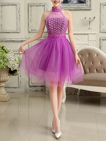 Purple Lace Halter Dress