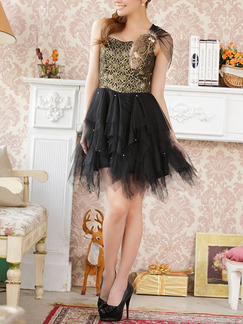 Black One Shoulder Lace Sequin Short Above Knee Dress for Cocktail Party