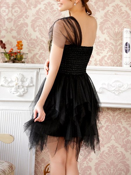 Black One Shoulder Lace Sequin Dress