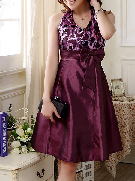 Purple Sequin Lace Dress