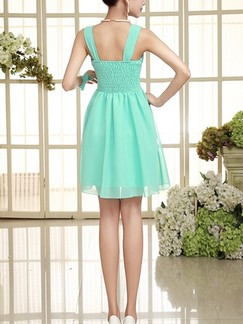 Green V Neck Fit & Flare Above Knee Dress for Bridesmaid Prom