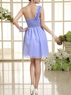 Blue One Shoulder Fit & Flare Above Knee Dress for Bridesmaid Prom