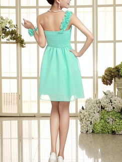 Green One Shoulder Fit & Flare Above Knee Dress for Bridesmaid Prom