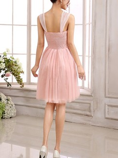 Pink Cute Lace Fit & Flare Above Knee Dress for Bridesmaid Prom