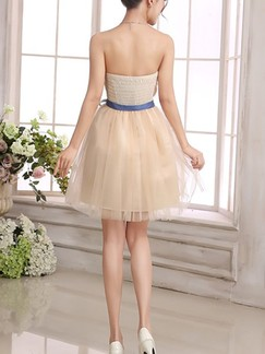 Beige Fit & Flare Above Knee Strapless Dress for Bridesmaid Prom