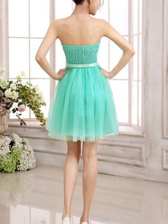 Green Fit & Flare Above Knee Strapless Dress for Bridesmaid Prom