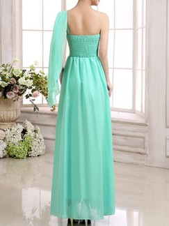 Green One Shoulder Maxi Dress for Bridesmaid Prom