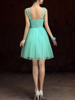 Green Fit & Flare Above Knee Dress for Bridesmaid Prom