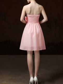 Pink Fit & Flare Lace Strapless Above Knee Cute Dress for Bridesmaid Prom