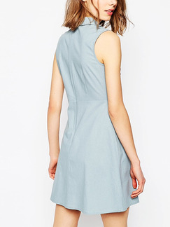 Blue Shift Above Knee Shirt Dress for Casual