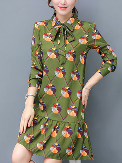 Green Colorful Above Knee Plus Size Shift Long Sleeve Shirt Dress for Casual Office