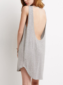 Grey Shift Above Knee Plus Size Backless Dress for Casual