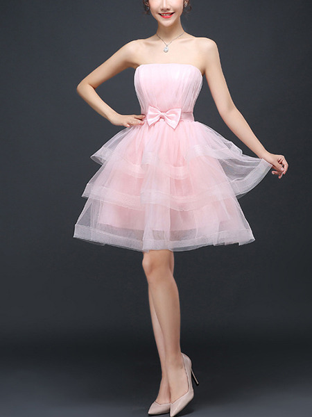 Pink Fit & Flare Above Knee Cute Strapless Dress for Prom Ball Bridesmaid