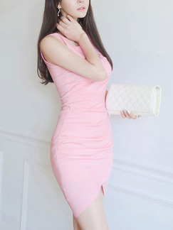 Pink Bodycon Above Knee Cute Dress for Party Evening Cocktail