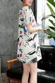 White Colorful Shift Above Knee Plus Size Dress for Casual Party