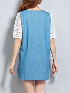Blue and White Shift Above Knee Plus Size Denim Dress for Casual