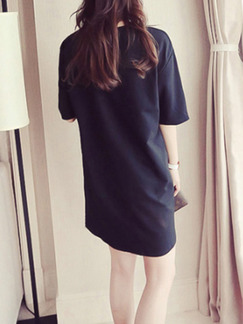 Black Shift Above Knee Plus Size T-Shirt Dress for Casual Party
