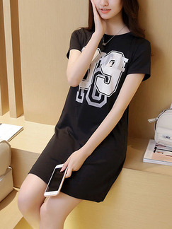 Black Shift T-Shirt Above Knee Dress for Casual Party