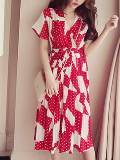 Red and White Shift Knee Length V Neck Plus Size Dress for Casual Beach Party