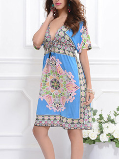 Blue Colorful Shift Above Knee Plus Size V Neck Dress for Casual Beach